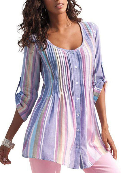 Front view of model wearing lavender roll tab sleeves striped pleated button-up tunic