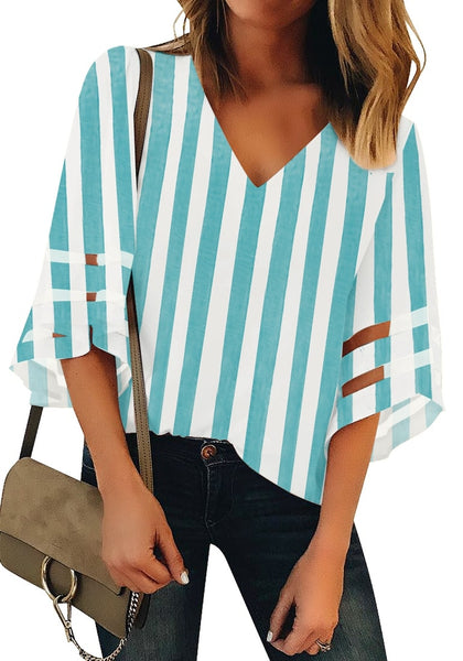 Front view of  model wearing light blue 34 bell mesh panel sleeves V-neckline striped loose top