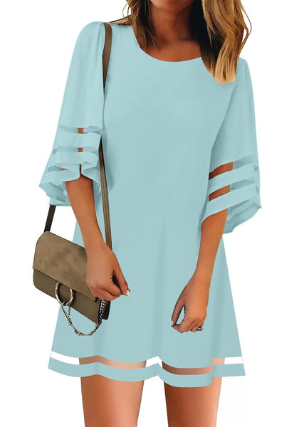 Front view of model wearing light blue 34 bell sleeves mesh panel crew-neckline loose dress
