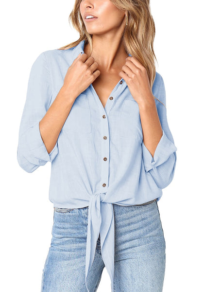 Front view of model wearing light blue 34 sleeves tie-front button-up blouse