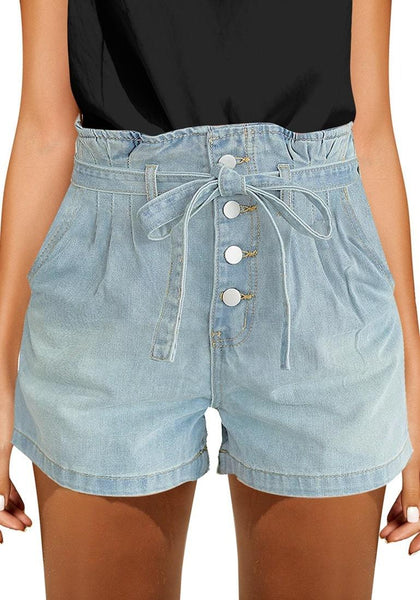Front view of model wearing light blue button-up high-waist belted denim shorts