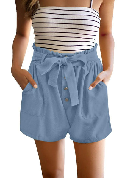Front view of model wearing light blue elastic-waist buttons tie-front shorts