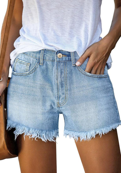Front view of model wearing light blue frayed hem washed denim jeans shorts