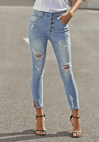 Light Blue High-Rise Buttoned Distressed Skinny Denim Jeans