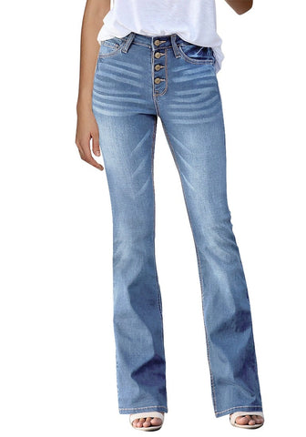 Light Blue High-Rise Buttons Flared Denim Jeans