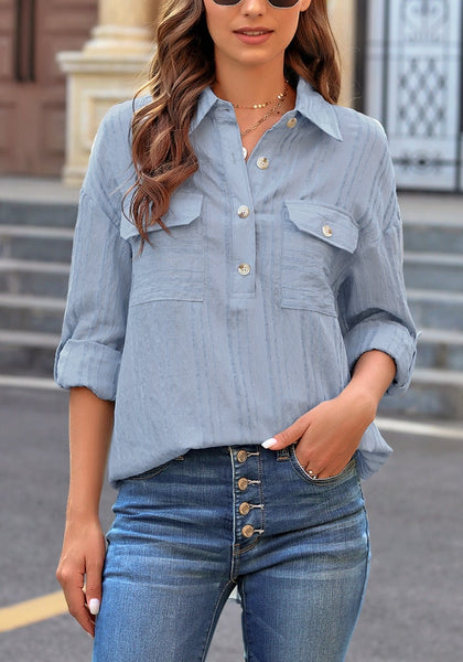 Light Blue Long Sleeves Half Button-Up Tunic Shirt