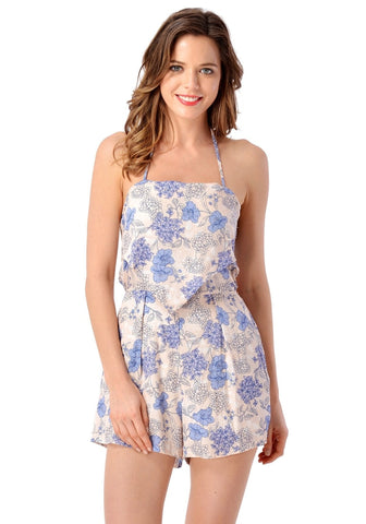 Light Blue Open-Back Floral Romper