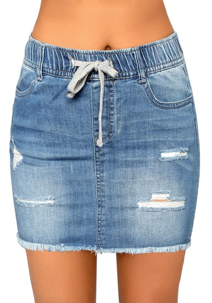 Light Blue Raw Hem Drawstring Distressed Denim Mini Skirt