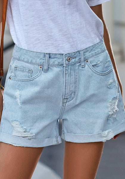 Light Blue Roll-Over Distressed Denim Shorts