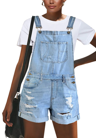 Light Blue Roll-Over Hem Ripped Denim Shorts Overall