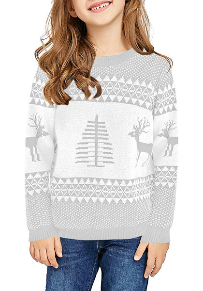 Front view of model wearing light grey crew neck reindeer girl's Christmas sweater