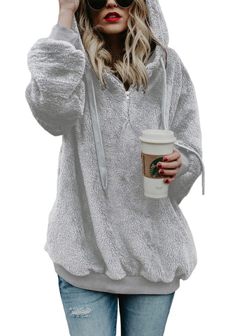 Light Grey Hooded Fuzzy Fleece Oversized Sweater
