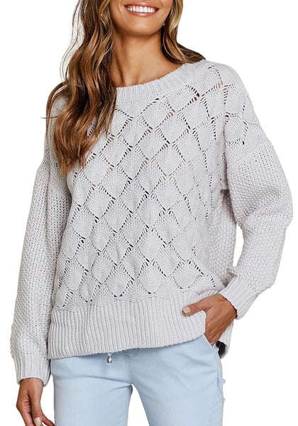 Front view of model wearing light grey ribbed crochet knit oversized sweater