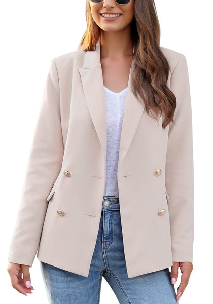 Front view of model wearing light mauve notch lapel double-breasted blazer