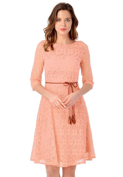Front view of model wearing light orange lace crop sleeves A-line dress