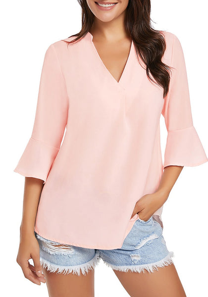 Front view of model wearing light pink V-neck flare sleeves loose chiffon blouse