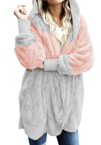 Light Pink Color Block Hooded Fleece Cardigan