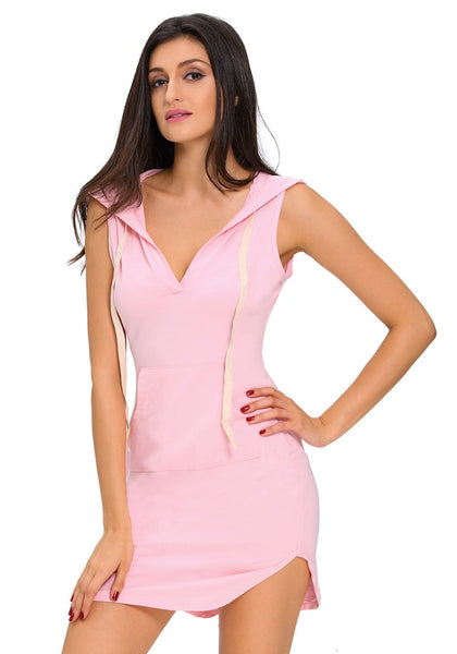 Front view of model wearing light pink sleeveless hoodie dress