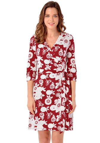 Maroon Floral Plunge Wrap Dress