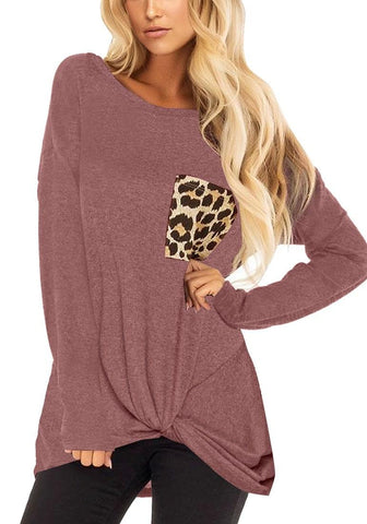 Mauve Long Sleeves Twist-Knot Leopard Pocket Top