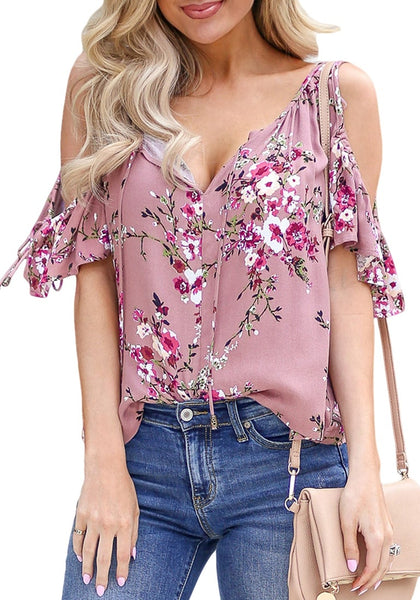 Front view of model wearing mauve pink drawstring cold-shoulder floral button-up top