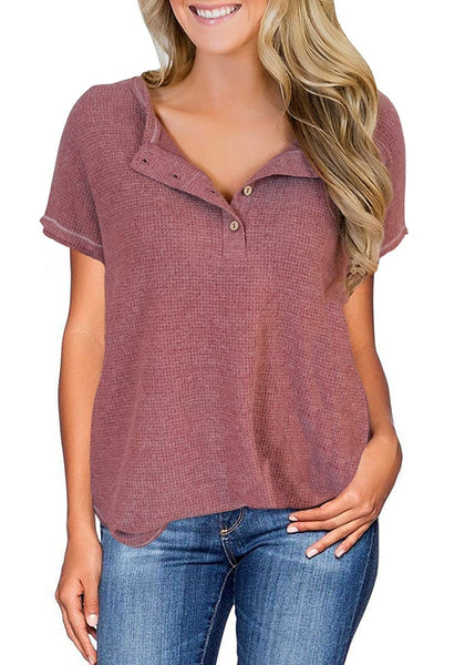 Front view of model wearing mauve pink waffle knit short sleeves henley top