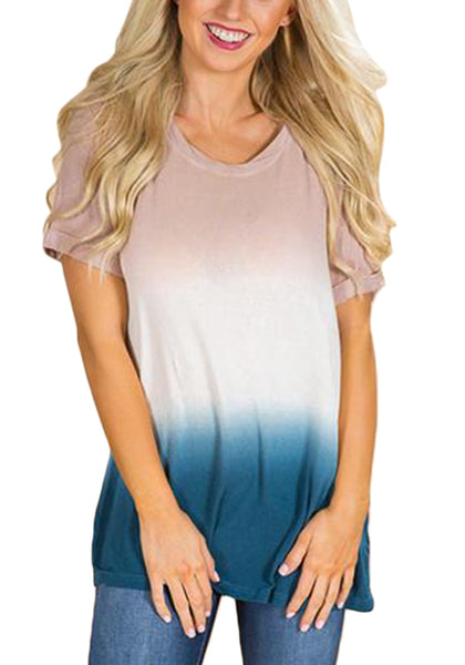 Front view of model wearing multicolored short sleeves tie dye ombre top