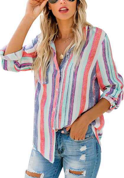 Front view of model wearing multicolored striped cuffed sleeves button-up top
