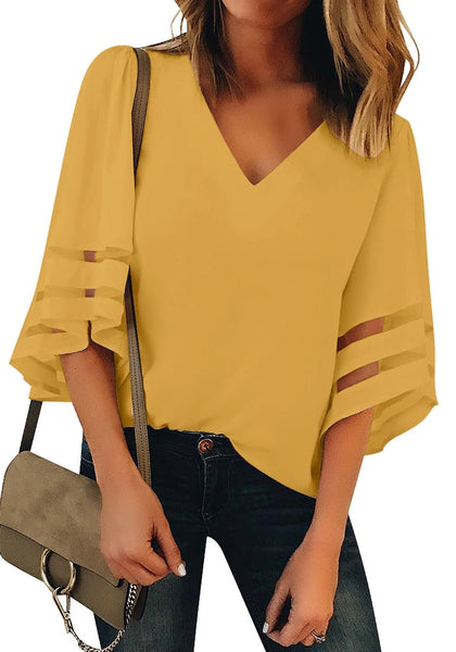 Front view of model wearing mustard yellow 34 bell mesh panel sleeves V-neckline loose top