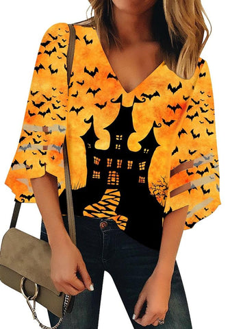 Mustard Yellow Bell Mesh Panel Sleeves Castle Bat Print Loose Top