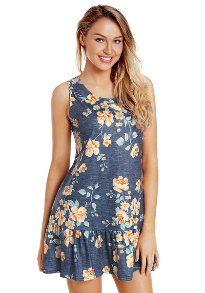 Front view of model wearing navy-cross-back-sleeveless-ruffled-mini-floral-shift-dress