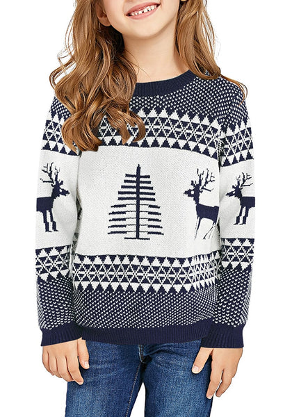 Front view of model wearing navy blue crew neck reindeer girl's Christmas sweater