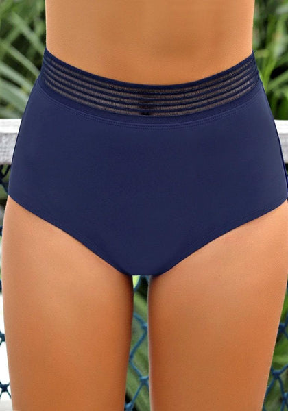 Front view of model wearing navy blue elastic panel high-waist swim bottom