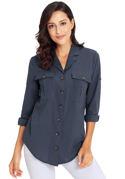 Front view of model wearing navy blue long cuffed sleeves lapel button-up blouse