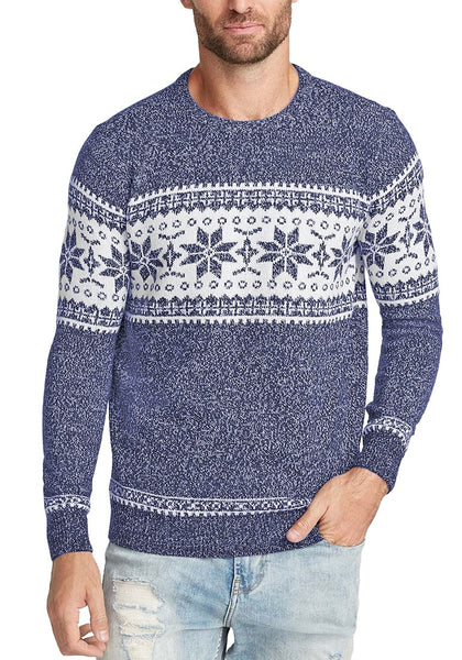 Front view of model wearing navy blue melange snowflake men's Christmas sweater