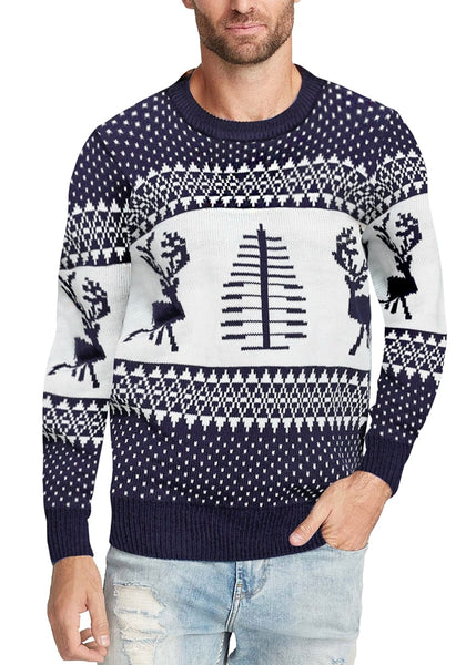 Front view of model wearing navy blue reindeer men's ugly Christmas sweater