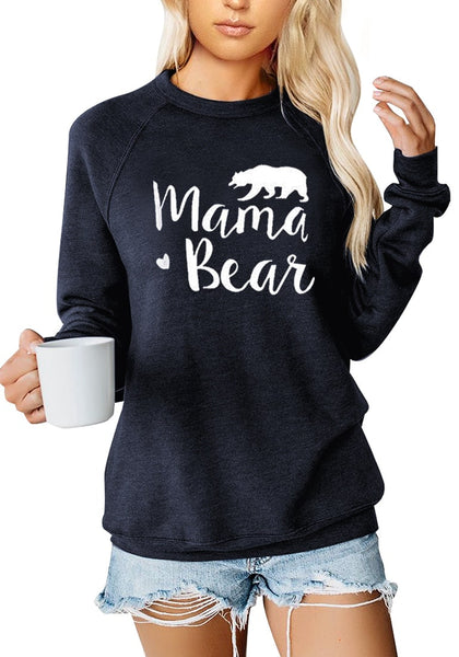 Navy Blue Statement Print Crewneck Sweatshirt