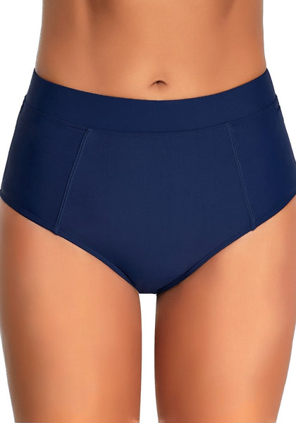 Front view of model wearing navy elastic mid-waist side pockets bikini bottom