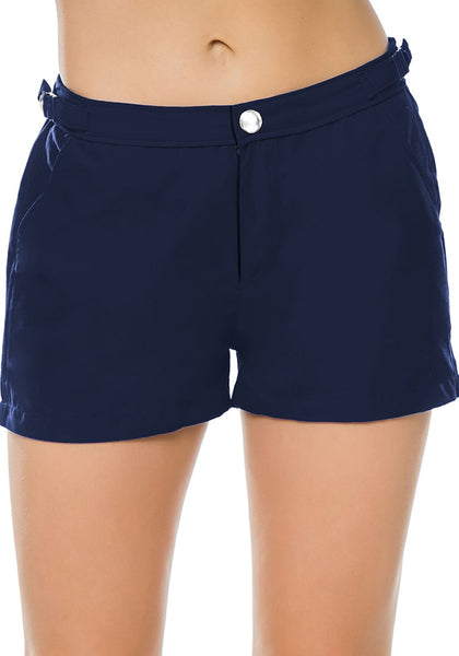 Front view of model wearing navy elastic waist buckle sides swim board shorts