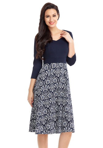 Navy Floral-Bottom Sweetheart Neckline Skater Dress