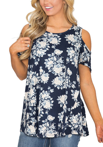 Navy Floral Cold-Shoulder Blouse