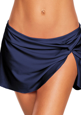 Navy Front-Twist Slit Swim Skirt