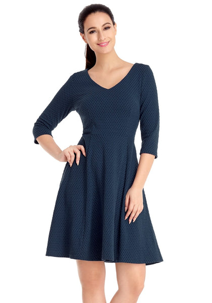 Front view of model wearing navy geometric textured casual skater dress