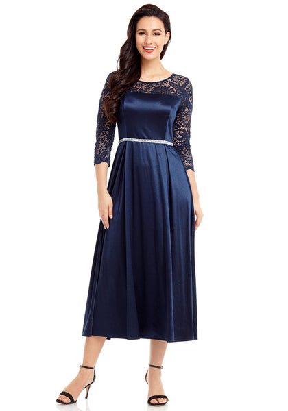 Front view of model wearing navy lace-sleeve long satin dress