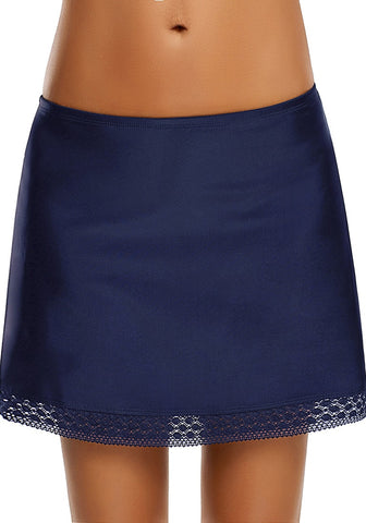 Navy Lace-Trim Swim Skirt