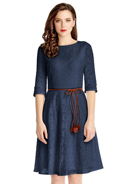 Front view of model wearing navy lace crop sleeves A-line dress