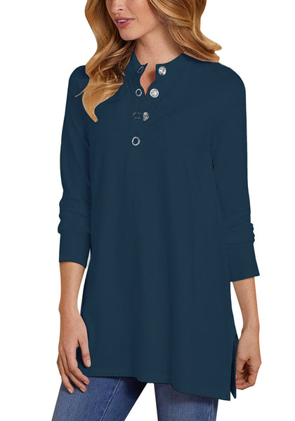 Front view of model wearing navy long sleeves snap buttons side slit top