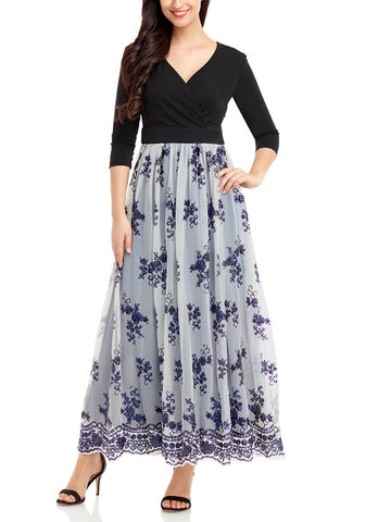 Navy Mesh Floral Sequin Maxi Dress