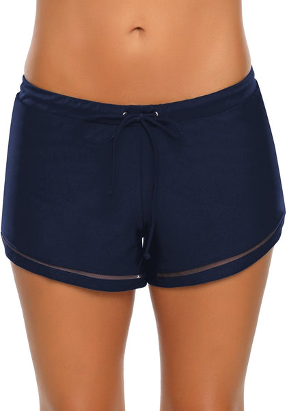 Navy Mesh Panel Drawstring Swim Shorts