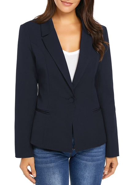 Front view of model wearing navy mock-pocket single-breasted lapel blazer
